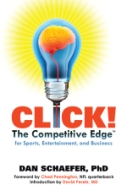Book cover, a lightbulb image, of CLICK! THE COMPETITIVE EDGE, by Dan Schaefer PhD.